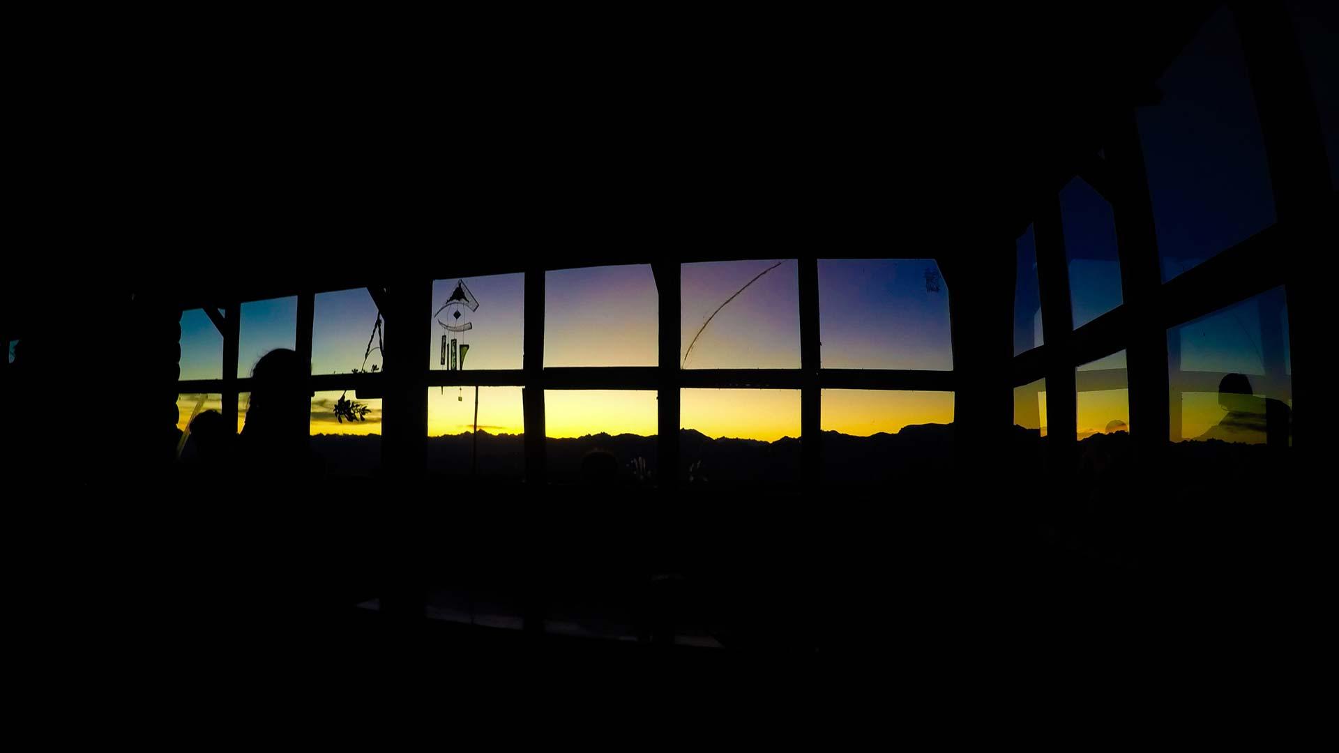 Sunset inside the mountain refuge